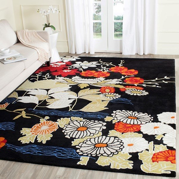 Black, Ivory (A) Floral / Botanical Area-Rugs