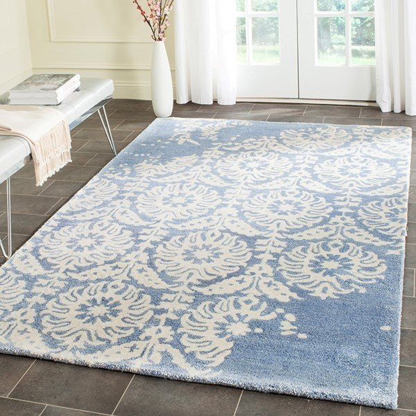 Light Blue, Ivory (C) Contemporary / Modern Area Rug