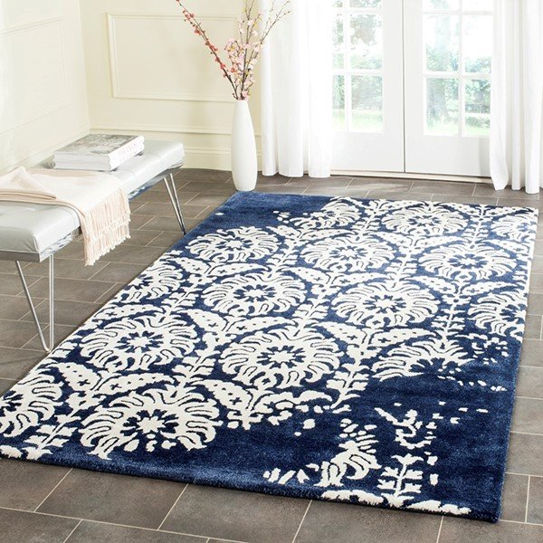 Navy, Ivory (D) Contemporary / Modern Area Rug