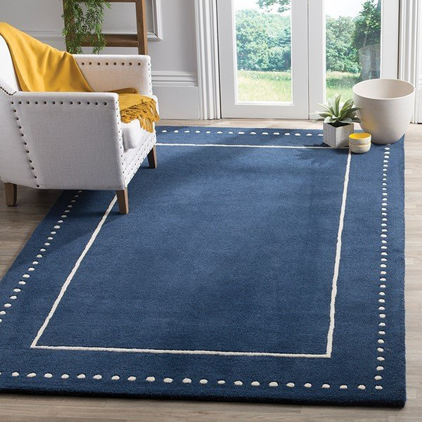 Navy Blue, Ivory (G) Contemporary / Modern Area-Rugs