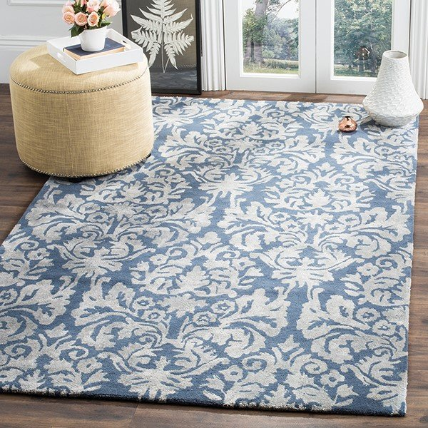 Navy, Grey (B) Traditional / Oriental Area-Rugs