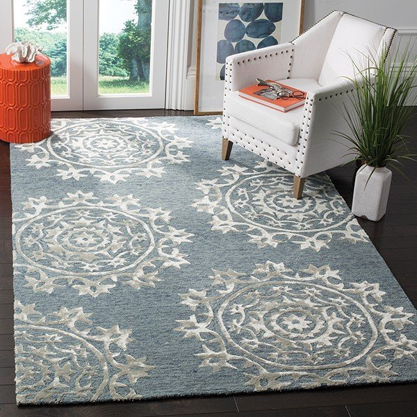 Blue (A) Contemporary / Modern Area-Rugs