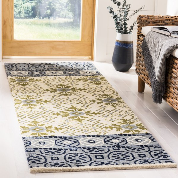 Ivory, Blue (A) Contemporary / Modern Area Rug