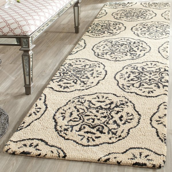 Ivory, Charcoal (D) Contemporary / Modern Area-Rugs