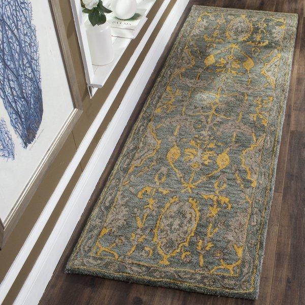 Blue Grey, Gold (A) Contemporary / Modern Area Rug