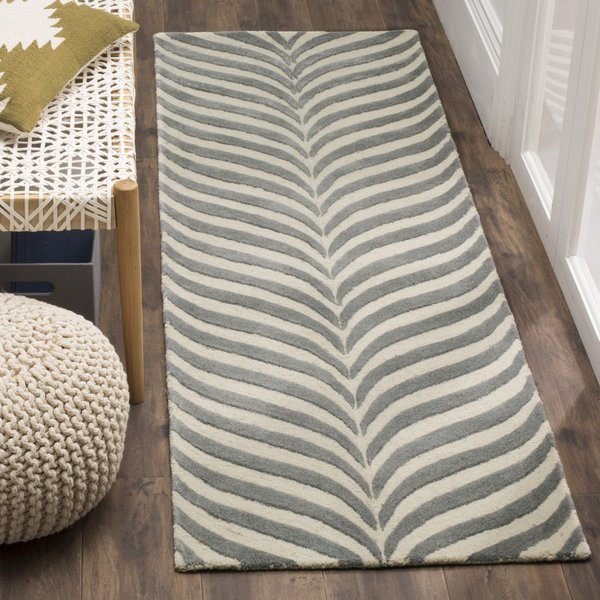 Ivory, Grey (B) Contemporary / Modern Area Rug