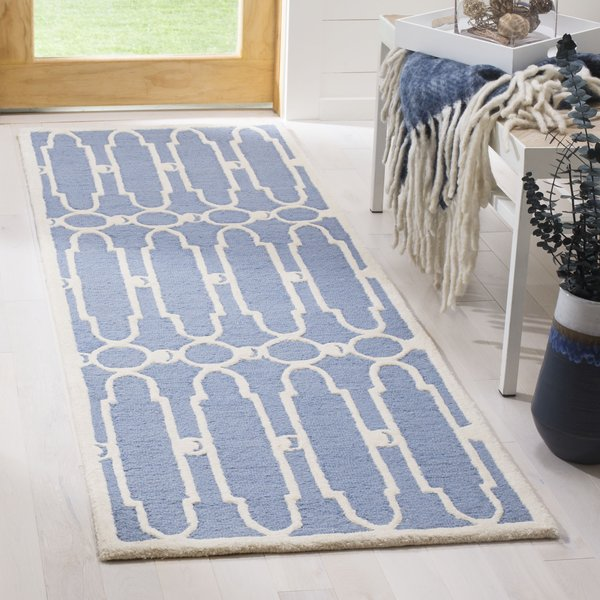 Blue, Ivory (A) Contemporary / Modern Area Rug