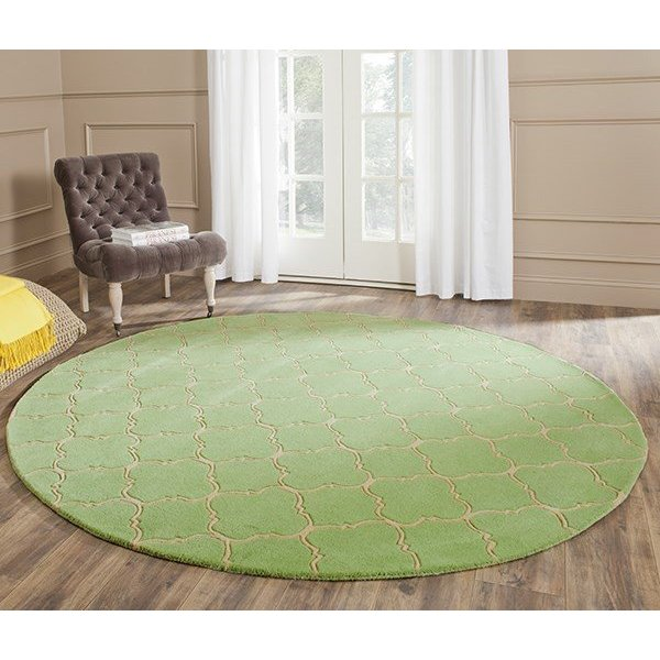 Green, Beige (B) Contemporary / Modern Area Rug