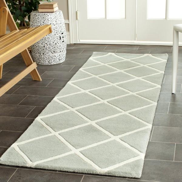 Grey, Ivory (E) Geometric Area Rug
