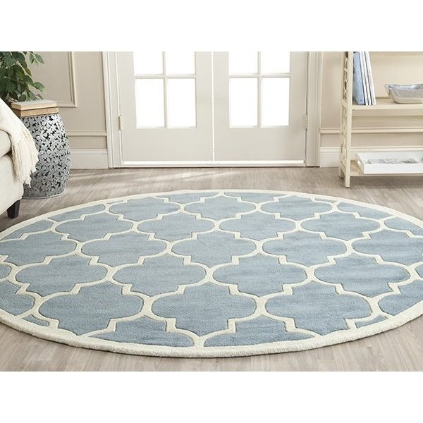 Blue, Ivory (B) Contemporary / Modern Area-Rugs