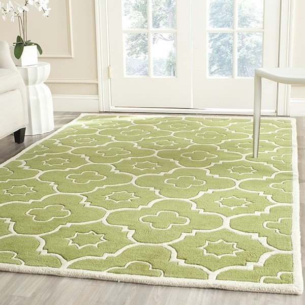 Green, Ivory (N) Contemporary / Modern Area Rug