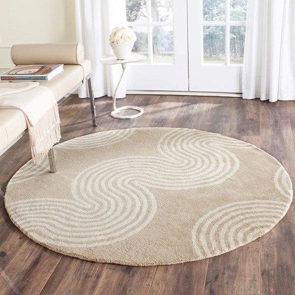 Beige, Ivory (H) Contemporary / Modern Area Rug