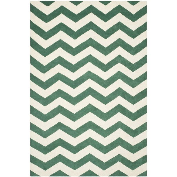 Teal, Ivory (T) Chevron Area Rug
