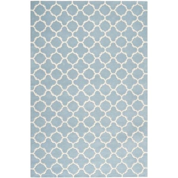 Blue, Ivory (B) Contemporary / Modern Area Rug