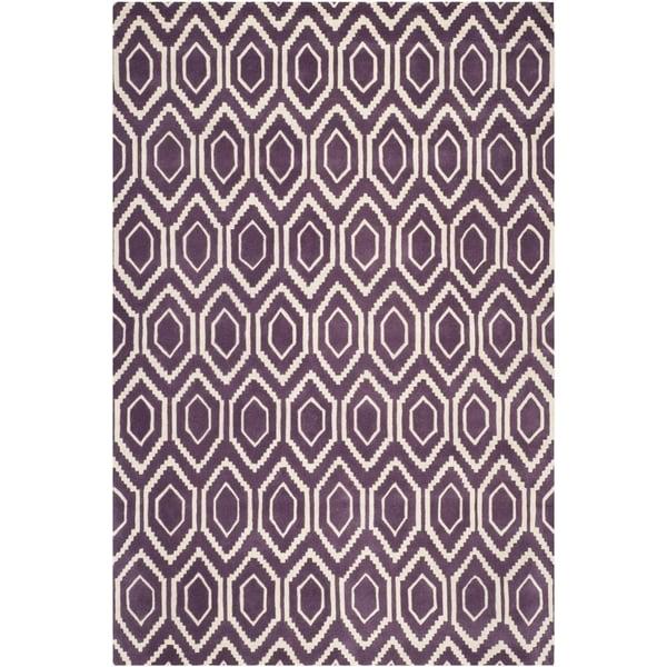 Purple, Ivory (F) Contemporary / Modern Area Rug