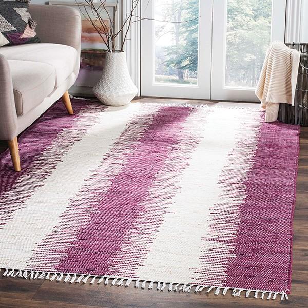 Purple (D) Striped Area Rug