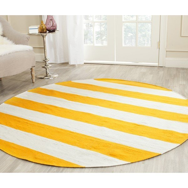 Yellow, White (A) Striped Area Rug