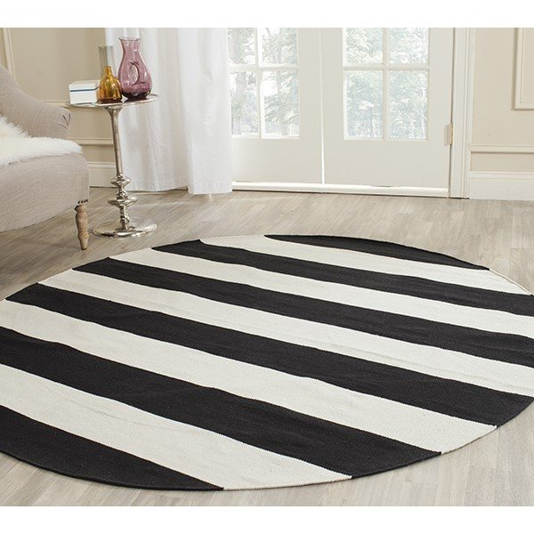 Black, White (D) Striped Area Rug