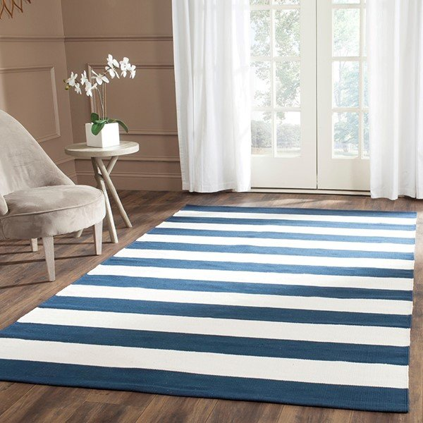 Navy, Ivory (H) Striped Area Rug