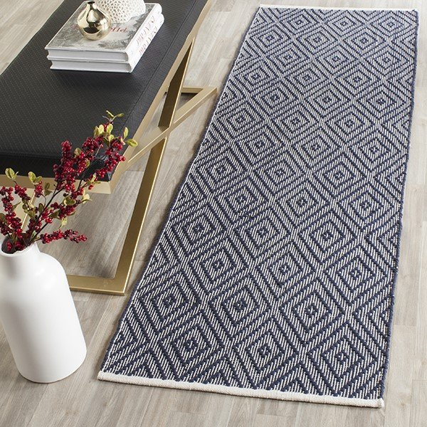 Navy, Ivory (C) Contemporary / Modern Area Rug