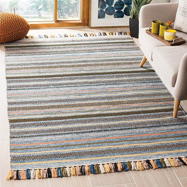 Blue (C) Striped Area-Rugs