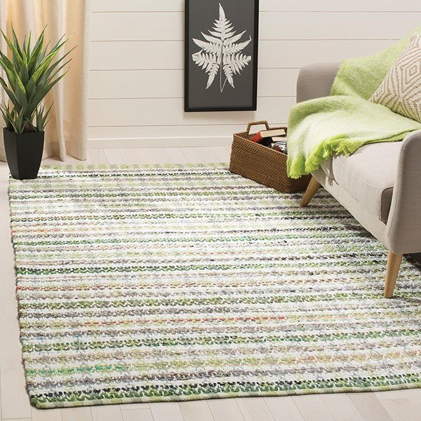 Green (G) Striped Area Rug