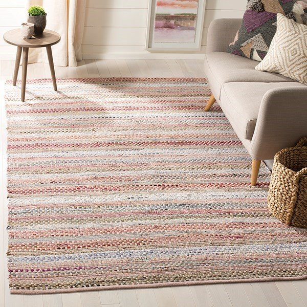 Pink (D) Striped Area Rug