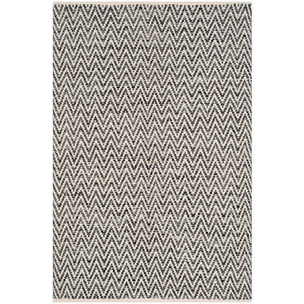Ivory, Dark Grey (A) Contemporary / Modern Area Rug