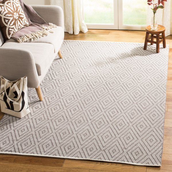 Grey, Ivory (A) Contemporary / Modern Area-Rugs