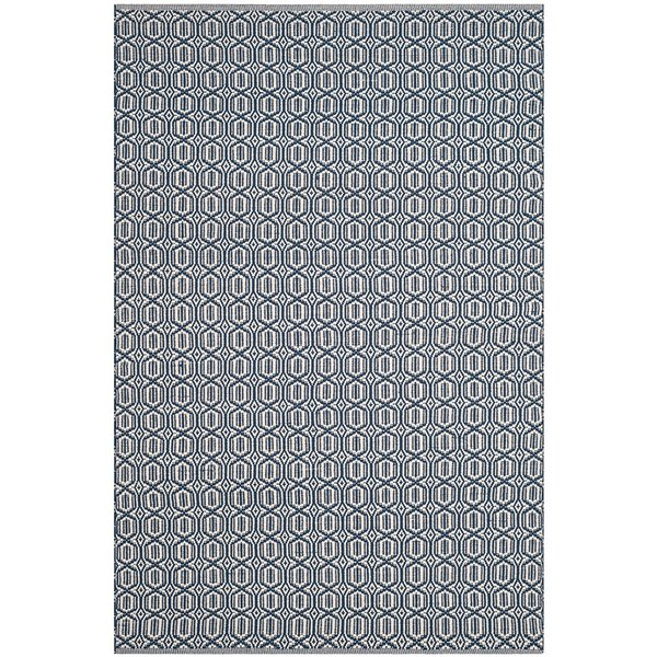 Ivory, Navy (B) Contemporary / Modern Area Rug