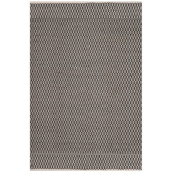 Ivory, Black (D) Contemporary / Modern Area Rug