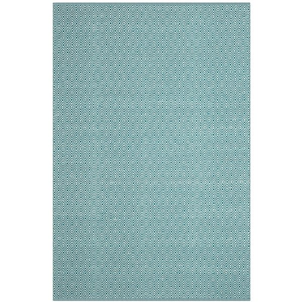Ivory, Turquoise (B) Contemporary / Modern Area Rug