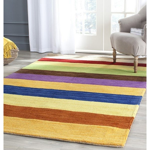 Yellow, Brown (A) Striped Area Rug