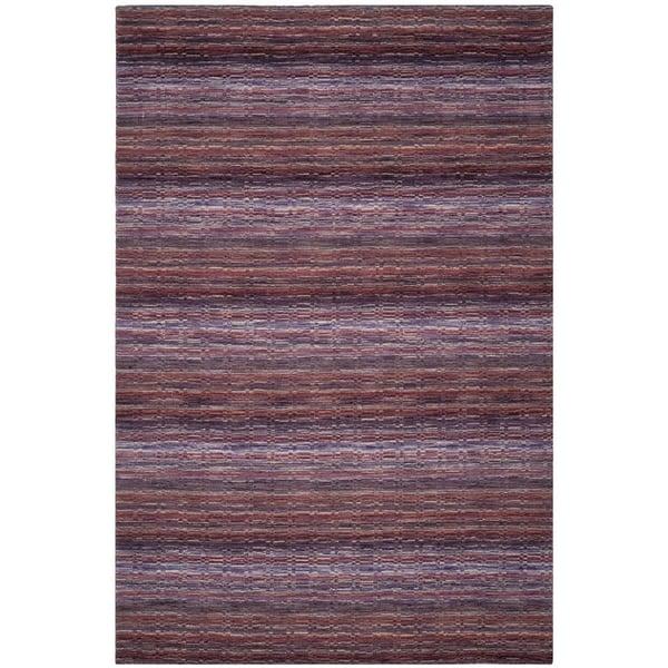 Purple (A) Striped Area Rug