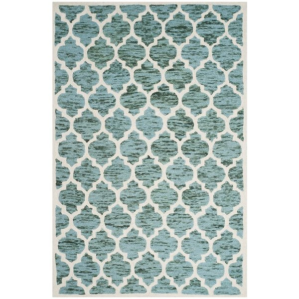 Turquoise, Ivory (C) Contemporary / Modern Area Rug