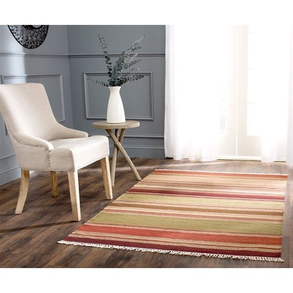Red (A) Striped Area Rug