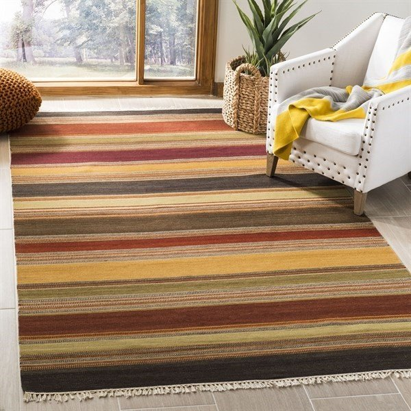 Gold (A) Striped Area Rug