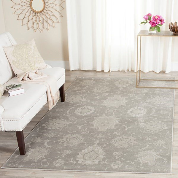 Grey, Ivory (K) Traditional / Oriental Area Rug