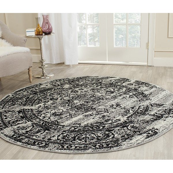 Silver, Black (A) Traditional / Oriental Area-Rugs