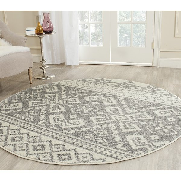 Ivory, Silver (B) Moroccan Area Rug