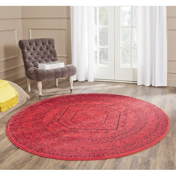 Red, Black (F) Traditional / Oriental Area Rug