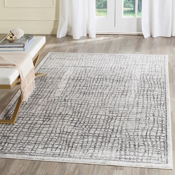 Silver, Ivory (B) Contemporary / Modern Area Rug