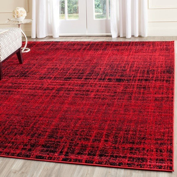 Red, Black (F) Contemporary / Modern Area Rug