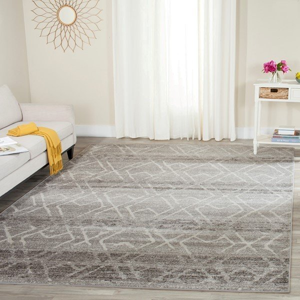 Silver, Ivory (B) Moroccan Area Rug