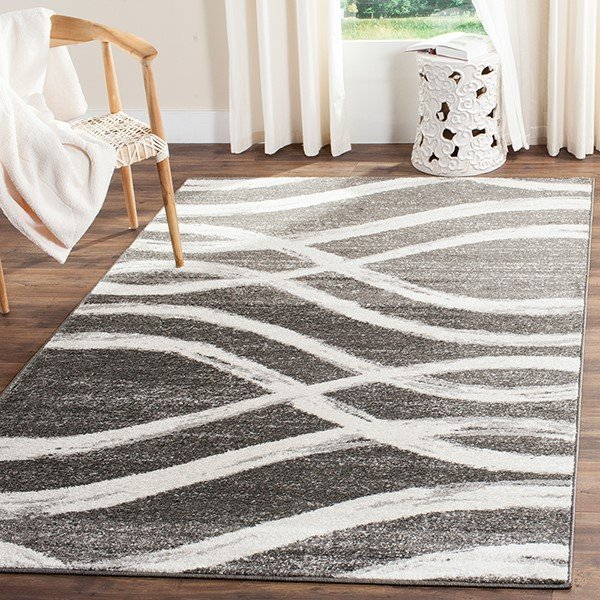 Charcoal, Ivory (R) Contemporary / Modern Area-Rugs