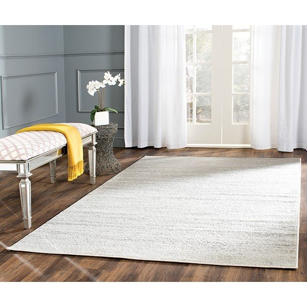 Ivory, Silver (B) Contemporary / Modern Area Rug