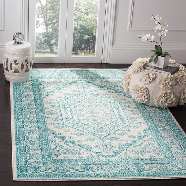 Ivory, Teal (G) Traditional / Oriental Area Rug