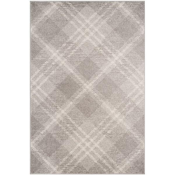 Light Grey, Ivory (B) Contemporary / Modern Area Rug