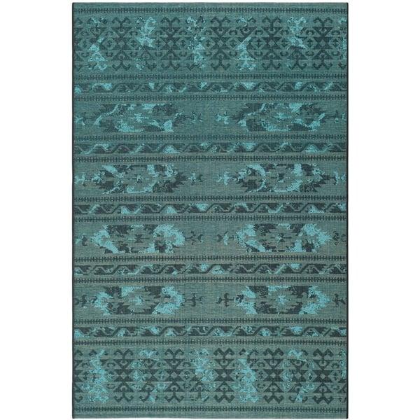 Black, Turquoise (56C4) Moroccan Area Rug