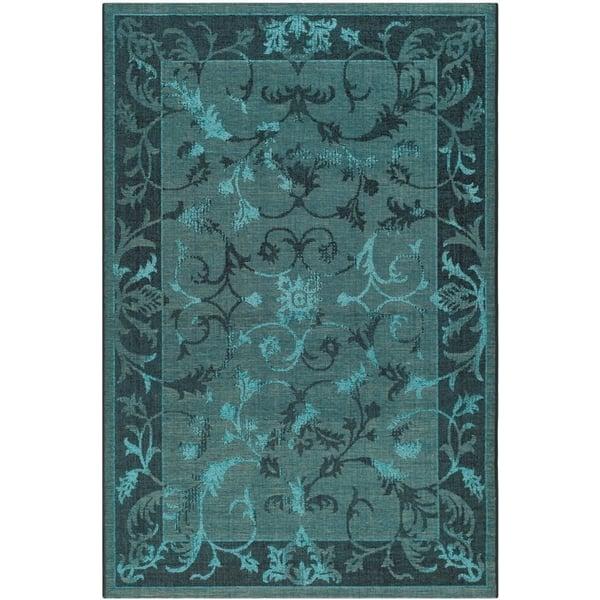 Black, Turquoise (56C4) Traditional / Oriental Area Rug